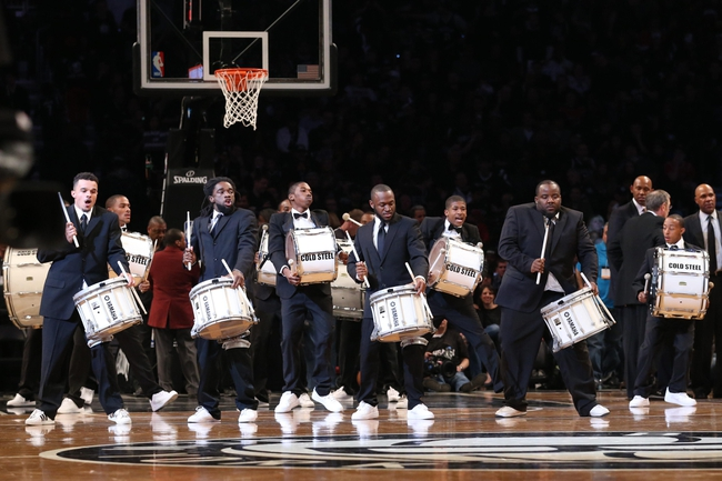 Apr 20, 2013; Brooklyn, NY, USA; Cold Steel drum band performs during the fourth quarter of the game between the Brooklyn Nets and the Chicago Bulls in game one of the first round of the 2013 NBA Playoffs at the Barclays Center. Brooklyn won106-89.  Mandatory Credit: Anthony Gruppuso-USA TODAY Sports