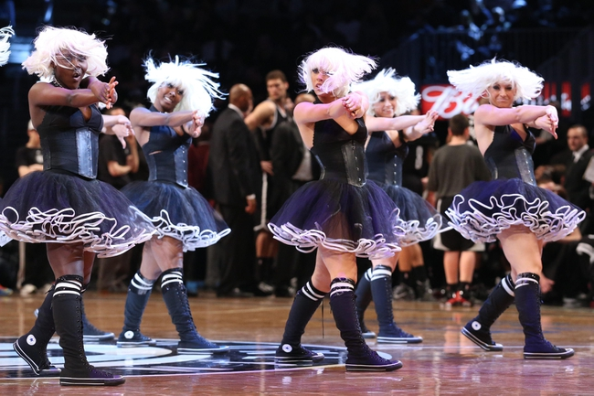 Apr 20, 2013; Brooklyn, NY, USA;  Brooklynettes perform during the game between the Brooklyn Nets and the Chicago Bulls in game one of the first round of the 2013 NBA Playoffs at the Barclays Center. Brooklyn won106-89.  Mandatory Credit: Anthony Gruppuso-USA TODAY Sports