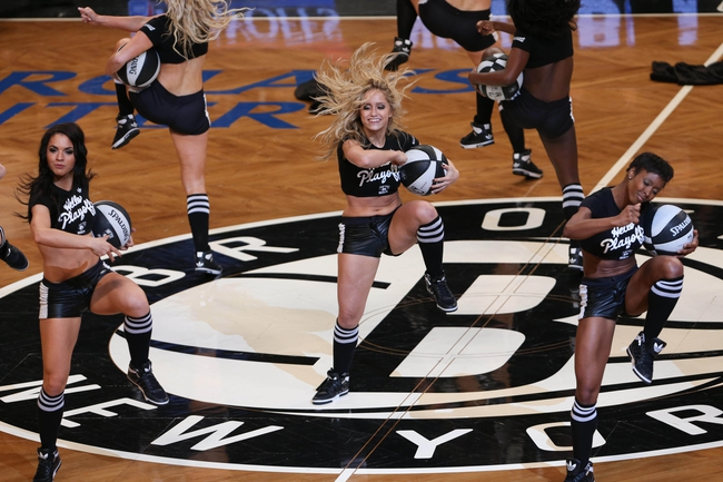 Apr 22, 2013; Brooklyn, NY, USA;  Brooklynettes perform during the fourth quarter of the game against the Chicago Bulls in game two in the first round of the 2013 NBA playoffs at the Barclays Center. Chicago won 90-82.  Mandatory Credit: Anthony Gruppuso-USA TODAY Sports