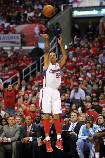 Apr 22, 2013; Los Angeles, CA, USA;  Los Angeles Clippers small forward Matt Barnes (22) shoots in the second half of game one against the Memphis Grizzlies  in the first round of the 2013 NBA playoffs at the Staples Center. Clippers won 93-91. Mandatory Credit: Jayne Kamin-Oncea-USA TODAY Sports
