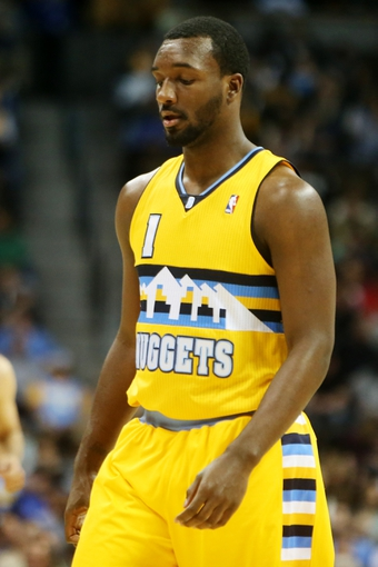 April 17, 2013; Denver, CO, USA; Denver Nuggets guard Jordan Hamilton (1) during the first half against the Phoenix Suns at the Pepsi Center. Mandatory Credit: Chris Humphreys-USA TODAY Sports