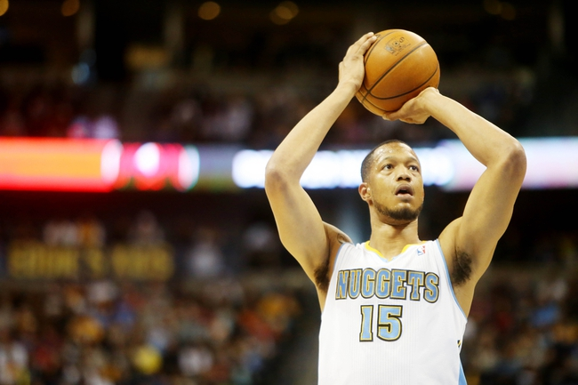 Apr 14, 2013; Denver, CO, USA; Denver Nuggets forward Anthony Randolph (15) takes a free throw during the second half against the Portland Trailblazers at the Pepsi Center. The Nuggets won 118-109.  Mandatory Credit: Chris Humphreys-USA TODAY Sports