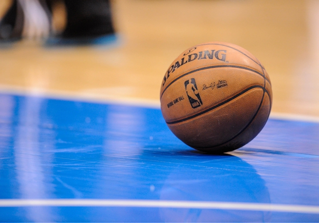 Apr 10, 2013; Dallas, TX, USA; A view of an NBA basketball during the game between the Dallas Mavericks and the Phoenix Suns at the American Airlines Center. The Suns defeated the Mavericks 102-91. Mandatory Credit: Jerome Miron-USA TODAY Sports