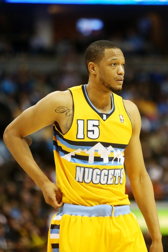 April 17, 2013; Denver, CO, USA; Denver Nuggets forward Anthony Randolph (15) during the first half against the Phoenix Suns at the Pepsi Center. Mandatory Credit: Chris Humphreys-USA TODAY Sports