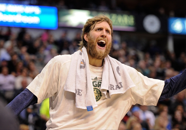 Apr 10, 2013; Dallas, TX, USA; Dallas Mavericks power forward Dirk Nowitzki (41) argues a call during the game between the Mavericks and the Phoenix Suns at the American Airlines Center. The Suns defeated the Mavericks 102-91. Mandatory Credit: Jerome Miron-USA TODAY Sports