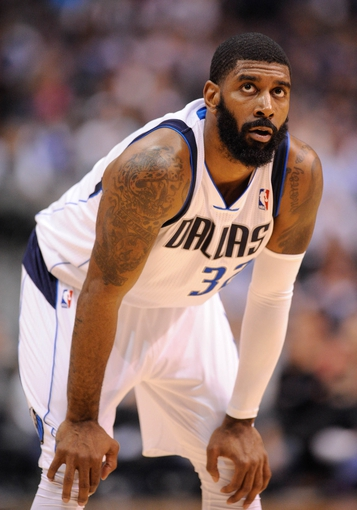 Apr 10, 2013; Dallas, TX, USA; Dallas Mavericks shooting guard O.J. Mayo (32) waits for play to resume against the Phoenix Suns during the game at the American Airlines Center. The Suns defeated the Mavericks 102-91. Mandatory Credit: Jerome Miron-USA TODAY Sports