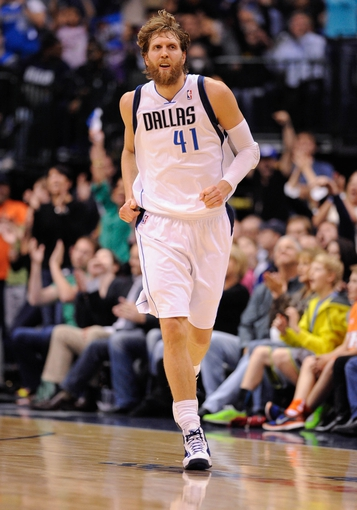 Apr 10, 2013; Dallas, TX, USA; Dallas Mavericks power forward Dirk Nowitzki (41) runs back up the court during the game against the Phoenix Suns at the American Airlines Center. The Suns defeated the Mavericks 102-91. Mandatory Credit: Jerome Miron-USA TODAY Sports