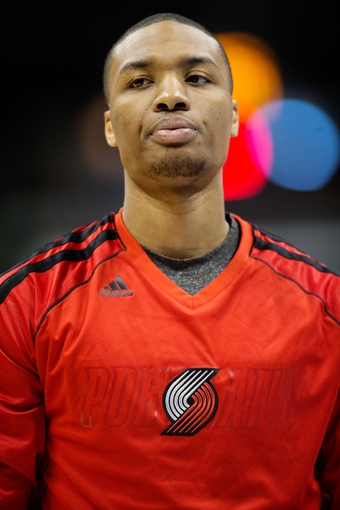 Apr 14, 2013; Denver, CO, USA; Portland Trailblazers guard Damian Lillard (0) before the first half against the Denver Nuggets at the Pepsi Center. Mandatory Credit: Chris Humphreys-USA TODAY Sports