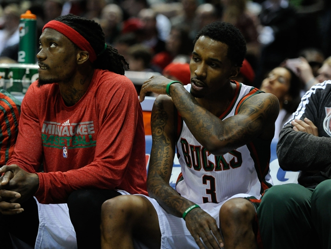 Apr 25, 2013; Milwaukee, WI, USA; Milwaukee Bucks guard Brandon Jennings reacts after he was called for a foul against the Miami Heat during game three of the first round of the 2013 NBA playoffs at BMO Harris Bradley Center. Mandatory Credit: Benny Sieu-USA TODAY Sports