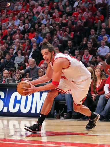 Apr 25, 2013; Chicago, IL, USA; Chicago Bulls center Joakim Noah (13) with the ball during the second quarter of the first round of the 2013 NBA playoffs against the Brooklyn Nets at the United Center. Mandatory Credit: Dennis Wierzbicki-USA TODAY Sports