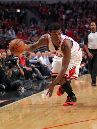 Apr 25, 2013; Chicago, IL, USA; Chicago Bulls small forward Jimmy Butler (21) with the ball during the second quarter of the first round of the 2013 NBA playoffs against the Brooklyn Nets at the United Center. Mandatory Credit: Dennis Wierzbicki-USA TODAY Sports