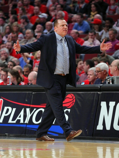 Apr 25, 2013; Chicago, IL, USA; Chicago Bulls head coach Tom Thibodeau reacts during the second quarter of the first round of the 2013 NBA playoffs against the Brooklyn Nets at the United Center. Mandatory Credit: Dennis Wierzbicki-USA TODAY Sports