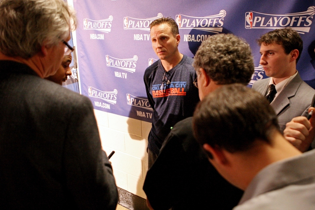 Apr 27, 2013; Houston, TX, USA; Oklahoma City Thunder head coach Scott Brooks talks to media before game three against the Houston Rockets in the first round of the 2013 NBA playoffs at the Toyota Center. Mandatory Credit: Troy Taormina-USA TODAY Sports
