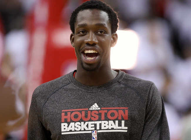 Apr 27, 2013; Houston, TX, USA; Houston Rockets point guard Patrick Beverley (12) warms up before game three against the Oklahoma City Thunder in the first round of the 2013 NBA playoffs at the Toyota Center. Mandatory Credit: Troy Taormina-USA TODAY Sports
