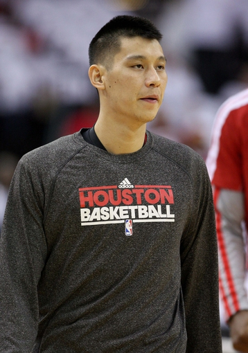Apr 27, 2013; Houston, TX, USA; Houston Rockets point guard Jeremy Lin (7) warms up before game three against the Oklahoma City Thunder in the first round of the 2013 NBA playoffs at the Toyota Center. Mandatory Credit: Troy Taormina-USA TODAY Sports
