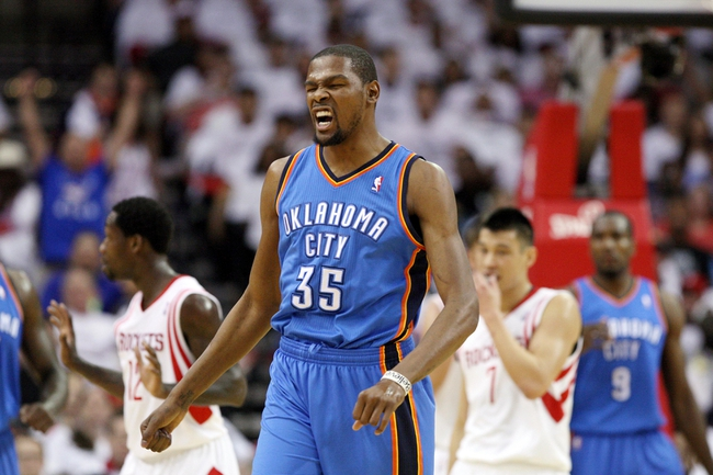 Apr 27, 2013; Houston, TX, USA; Oklahoma City Thunder small forward Kevin Durant (35) reacts during the first quarter against the Houston Rockets during game three in the first round of the 2013 NBA playoffs at the Toyota Center. Mandatory Credit: Troy Taormina-USA TODAY Sports