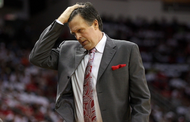Apr 27, 2013; Houston, TX, USA; Houston Rockets head coach Kevin McHale reacts after a play during the second quarter against the Oklahoma City Thunder during game three in the first round of the 2013 NBA playoffs at the Toyota Center. Mandatory Credit: Troy Taormina-USA TODAY Sports