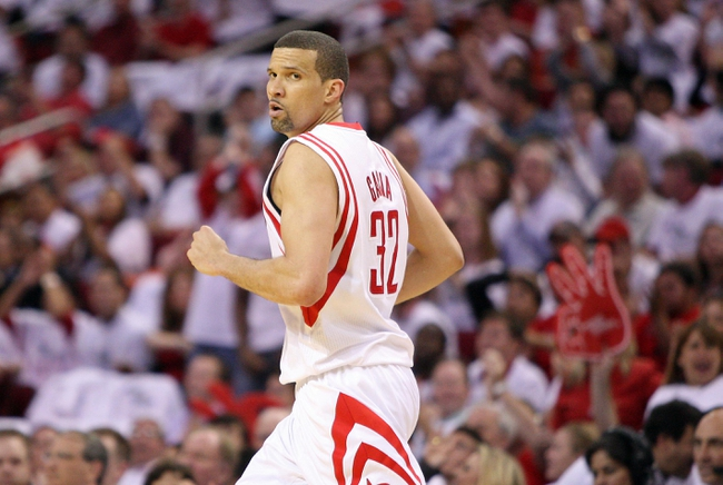 Apr 27, 2013; Houston, TX, USA; Houston Rockets shooting guard Francisco Garcia (32) reacts after making a basket during the second quarter against the Oklahoma City Thunder during game three in the first round of the 2013 NBA playoffs at the Toyota Center. Mandatory Credit: Troy Taormina-USA TODAY Sports