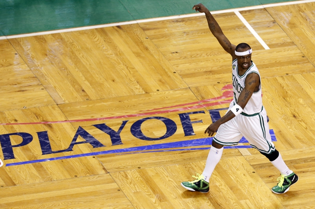 Apr 28, 2013; Boston, MA, USA; Boston Celtics shooting guard Jason Terry (4) reacts after a basket against the New York Knicks during overtime in game four of the first round of the 2013 NBA playoffs at TD Garden. The Celtics defeated the New York Knicks 97-90. Mandatory Credit: David Butler II-USA TODAY Sports