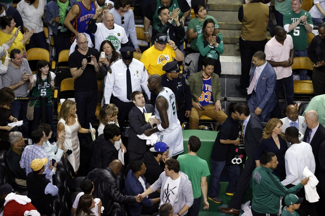 Apr 28, 2013; Boston, MA, USA; Boston Celtics center Kevin Garnett (5) leaves the court after defeating the New York Knicks during overtime in game four of the first round of the 2013 NBA playoffs at TD Garden. The Celtics defeated the New York Knicks 97-90. Mandatory Credit: David Butler II-USA TODAY Sports