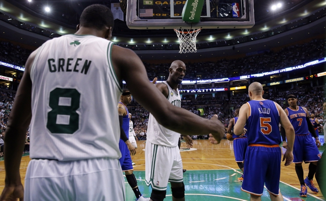 Apr 28, 2013; Boston, MA, USA; Boston Celtics center Kevin Garnett (5) reacts with power forward Jeff Green (8) after a play against the New York Knicks in game four of the first round of the 2013 NBA playoffs at TD Garden. The Celtics defeated the New York Knicks 97-90. Mandatory Credit: David Butler II-USA TODAY Sports