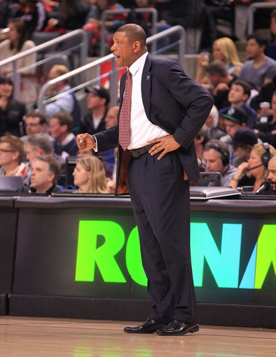 Apr 17, 2013; Toronto, Ontario, CAN; Boston Celtics head coach Doc Rivers during the game against the Toronto Raptors at the Air Canada Centre. The Raptors beat the Celtics 114-90. Mandatory Credit: Kevin Hoffman-USA TODAY Sports