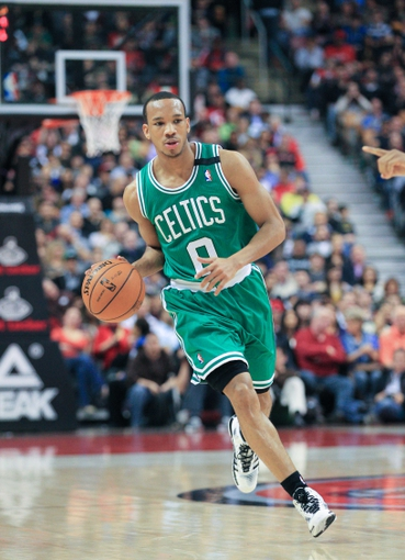 Apr 17, 2013; Toronto, Ontario, CAN; Boston Celtics point guard Avery Bradley (0) during the game against the Toronto Raptors at the Air Canada Centre. The Raptors beat the Celtics 114-90. Mandatory Credit: Kevin Hoffman-USA TODAY Sports