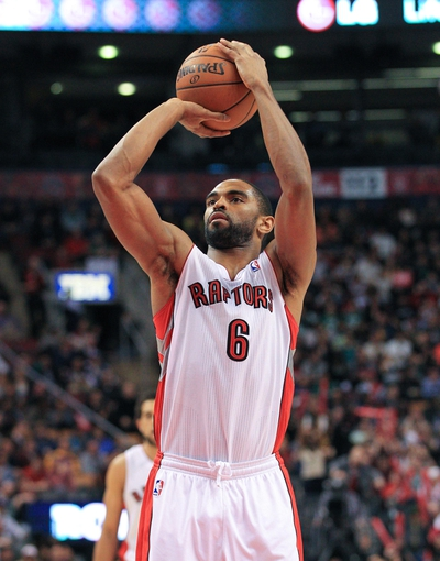 Apr 17, 2013; Toronto, Ontario, CAN; Toronto Raptors shooting guard Alan Anderson (6) during the game against the Boston Celtics at the Air Canada Centre. The Raptors beat the Celtics 114-90. Mandatory Credit: Kevin Hoffman-USA TODAY Sports