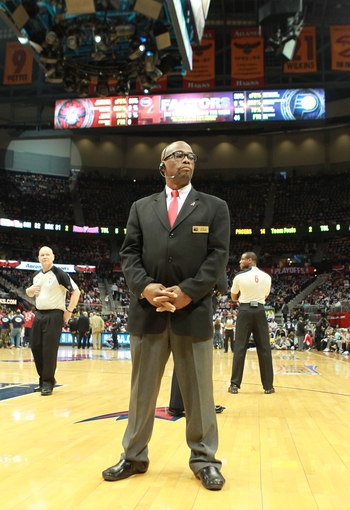 Apr 29, 2013; Atlanta, GA, USA; Security personnel stand watch during a timeout in game four of the first round of the 2013 NBA playoffs at Philips Arena. Mandatory Credit: Marvin Gentry-USA TODAY Sports