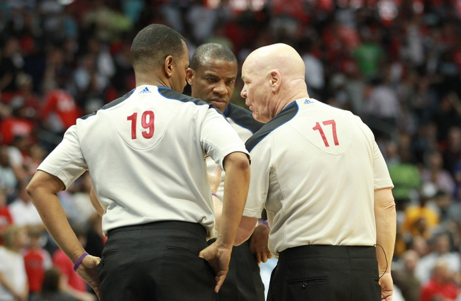 Apr 29, 2013; Atlanta, GA, USA; Officials Joe Crawford (17) Tony Brown (6) and James Capers (19) talk about an incident late in game four of the first round of the 2013 NBA playoffs at Philips Arena. Mandatory Credit: Marvin Gentry-USA TODAY Sports