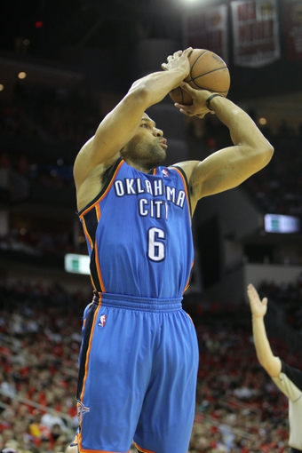 Apr 29, 2013; Houston, TX, USA; Oklahoma City Thunder point guard Derek Fisher (6) takes a shot against the Houston Rockets in the fourth quarter in game four of the first round of the 2013 NBA playoffs at the Toyota Center. The Rockets defeated the Thunder 105-103. Mandatory Credit: Brett Davis-USA TODAY Sports