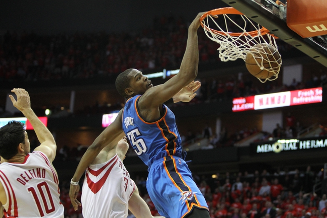 Apr 29, 2013; Houston, TX, USA; Oklahoma City Thunder small forward Kevin Durant (35) dunks the ball against the Houston Rockets in the fourth quarter in game four of the first round of the 2013 NBA playoffs at the Toyota Center. The Rockets defeated the Thunder 105-103. Mandatory Credit: Brett Davis-USA TODAY Sports