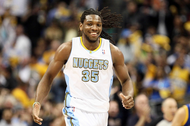 Apr 30, 2013; Denver, CO, USA; Denver Nuggets small forward Kenneth Faried (35) reacts to a play in the second quarter against the Golden State Warriors in game five of the first round of the 2013 NBA Playoffs at the Pepsi Center. Mandatory Credit: Isaiah J. Downing-USA TODAY Sports