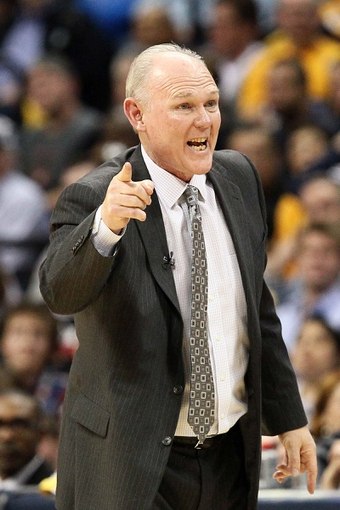 Apr 30, 2013; Denver, CO, USA; Denver Nuggets head coach George Karl reacts to a call in the fourth quarter against the Golden State Warriors in game five of the first round of the 2013 NBA Playoffs at the Pepsi Center. The Nuggets won 107-100. Mandatory Credit: Isaiah J. Downing-USA TODAY Sports