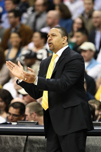 Apr 30, 2013; Denver, CO, USA; Golden State Warriors head coach Mark Jackson reacts in the second quarter against the Denver Nuggets in game five of the first round of the 2013 NBA Playoffs at the Pepsi Center. The Nuggets won 107-100. Mandatory Credit: Isaiah J. Downing-USA TODAY Sports