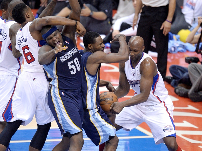 Apr 30, 2013; Los Angeles, CA, USA;  Los Angeles Clippers center DeAndre Jordan (6), power forward Lamar Odom (7), Memphis Grizzlies shooting guard Tony Allen (9) and power forward Zach Randolph (50) battle for the ball in the first half of game five of the first round of the 2013 NBA Playoffs at the Staples Center. Mandatory Credit: Jayne Kamin-Oncea-USA TODAY Sports