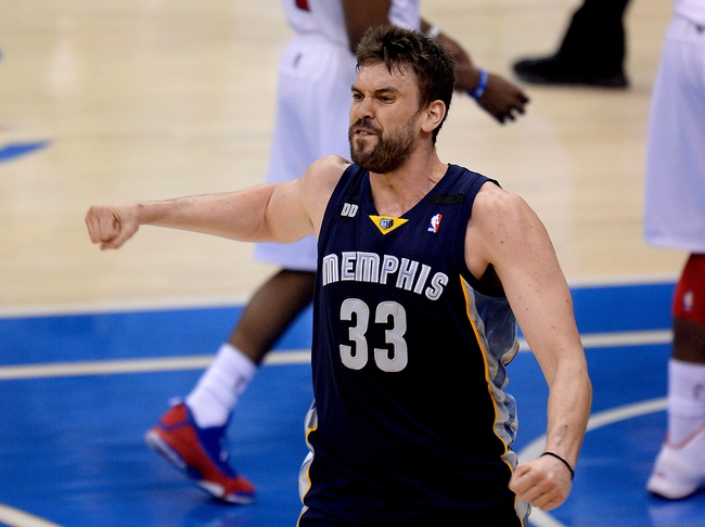 Apr 30, 2013; Los Angeles, CA, USA;  Memphis Grizzlies center Marc Gasol (33) reacts to a foul from Los Angeles Clippers power forward Blake Griffin (not pictured) in the first half of game five of the first round of the 2013 NBA Playoffs at the Staples Center. Mandatory Credit: Jayne Kamin-Oncea-USA TODAY Sports