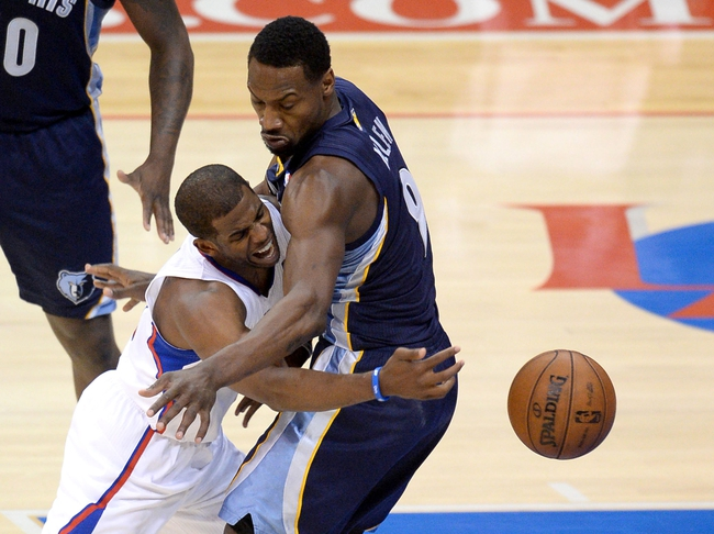 Apr 30, 2013; Los Angeles, CA, USA;  Memphis Grizzlies shooting guard Tony Allen (9) guards Los Angeles Clippers point guard Chris Paul (3) in the second half of game five of the first round of the 2013 NBA Playoffs at the Staples Center. Grizzlies won 103-93. Mandatory Credit: Jayne Kamin-Oncea-USA TODAY Sports