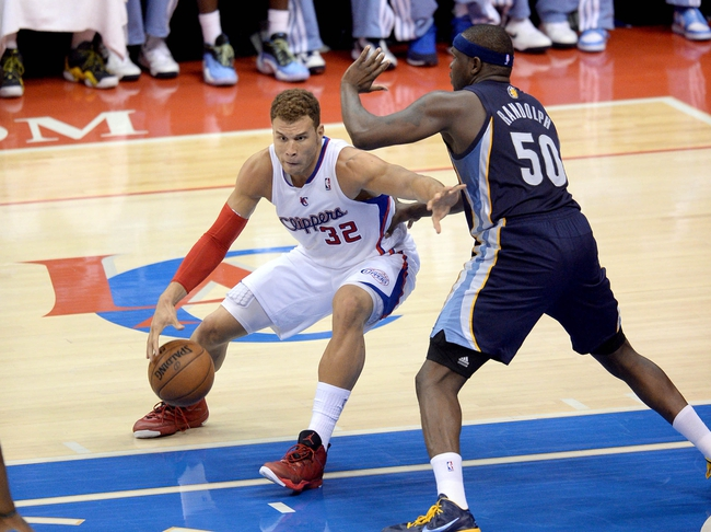 Apr 30, 2013; Los Angeles, CA, USA;  Memphis Grizzlies power forward Zach Randolph (50) guards Los Angeles Clippers power forward Blake Griffin (32) in the second half of game five of the first round of the 2013 NBA Playoffs at the Staples Center. Grizzlies won 103-93. Mandatory Credit: Jayne Kamin-Oncea-USA TODAY Sports