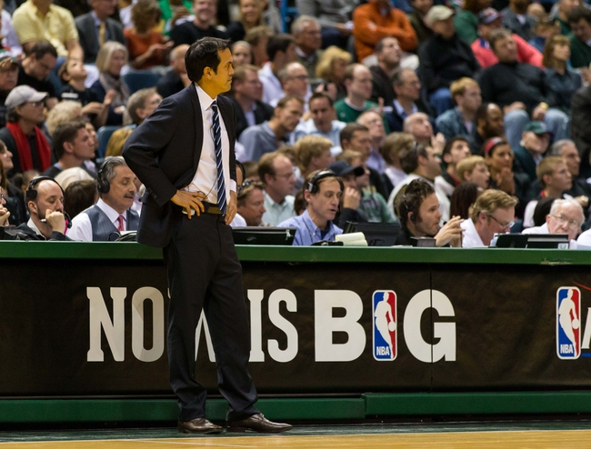 Apr 25, 2013; Milwaukee, WI, USA; Miami Heat head coach Erik Spoelstra during game three of the first round of the 2013 NBA playoffs against the Milwaukee Bucks at BMO Harris Bradley Center.  Miami won 104-91.  Mandatory Credit: Jeff Hanisch-USA TODAY Sports