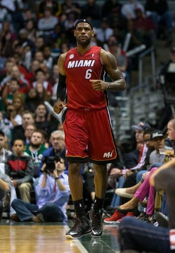 Apr 25, 2013; Milwaukee, WI, USA; Miami Heat forward LeBron James (6) during game three of the first round of the 2013 NBA playoffs against the Milwaukee Bucks at BMO Harris Bradley Center.  Miami won 104-91.  Mandatory Credit: Jeff Hanisch-USA TODAY Sports