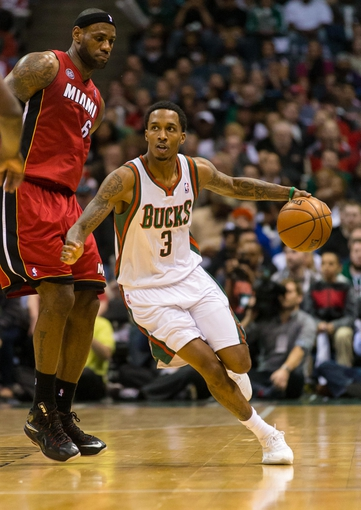 Apr 25, 2013; Milwaukee, WI, USA; Milwaukee Bucks guard Brandon Jennings (3) during game three of the first round of the 2013 NBA playoffs against the Miami Heat at BMO Harris Bradley Center.  Miami won 104-91.  Mandatory Credit: Jeff Hanisch-USA TODAY Sports