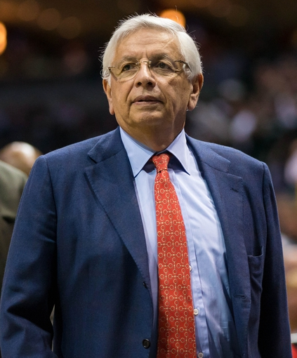 Apr 28, 2013; Milwaukee, WI, USA; NBA commissioner David Stern looks on during game four of the first round of the 2013 NBA playoffs between the Miami Heat and Milwaukee Bucks at the BMO Harris Bradley Center.  Miami won 88-77.  Mandatory Credit: Jeff Hanisch-USA TODAY Sports