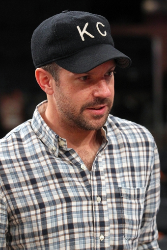 May 1, 2013; New York, NY, USA; Actor and comedian Jason Sudeikis talks with fans following game five of the first round of the 2013 NBA Playoffs between the New York Knicks and the Boston Celtics at Madison Square Garden. Mandatory Credit: Brad Penner-USA TODAY Sports