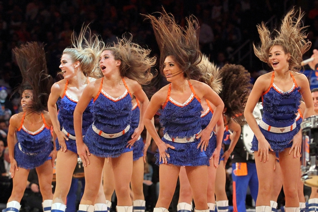 May 1, 2013; New York, NY, USA; The Knicks City Dancers dance team performs during the fourth quarter of game five of the first round of the 2013 NBA Playoffs between the New York Knicks and the Boston Celtics at Madison Square Garden. Mandatory Credit: Brad Penner-USA TODAY Sports