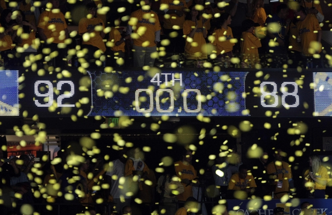May 2, 2013; Oakland, CA, USA; Final score between the Golden State Warriors and the Denver Nuggets of game six of the first round of the 2013 NBA Playoffs at Oracle Arena. The Golden State Warriors defeated the Denver Nuggets 92-88 to win the series. Mandatory Credit: Kelley L Cox-USA TODAY Sports