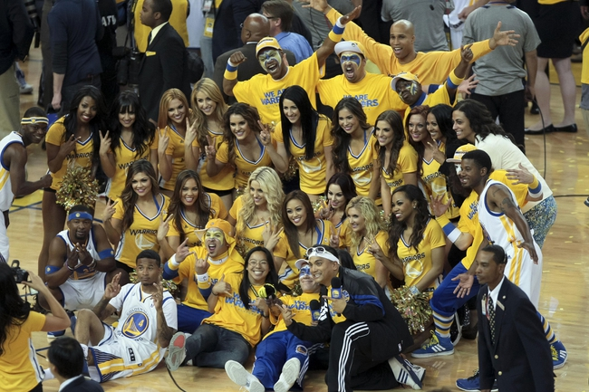 May 2, 2013; Oakland, CA, USA; Golden State Warriors small forward Richard Jefferson (44) joins the cheerleaders for a group photo after the game against the Denver Nuggets for game six of the first round of the 2013 NBA Playoffs at Oracle Arena. The Golden State Warriors defeated the Denver Nuggets 92-88 to win the series. Mandatory Credit: Kelley L Cox-USA TODAY Sports