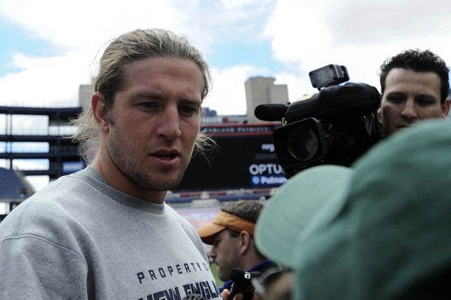 May 3, 2013; Foxboro, MA USA; New England Patriot rookie Zach Sudfeld speaks to the media during rookie minicamp at Gillette Stadium. Mandatory Credit: Bob DeChiara-USA TODAY Sports
