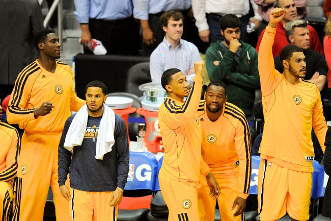 May 3, 2013; Atlanta, GA, USA; The Indiana Pacers bench reacts after defeating the Atlanta Hawks in game six of the first round of the 2013 NBA Playoffs at Philips Arena. The Pacers defeated the Hawks 81-73 to win the series four games to two. Mandatory Credit: Dale Zanine-USA TODAY Sports