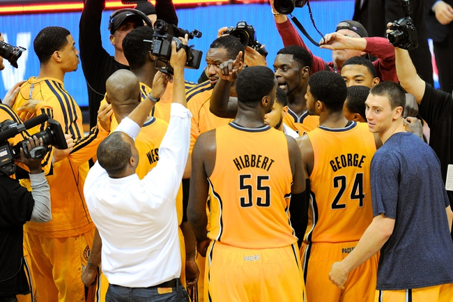May 3, 2013; Atlanta, GA, USA; The Indiana Pacers react after defeating the Atlanta Hawks in game six of the first round of the 2013 NBA Playoffs at Philips Arena. The Pacers defeated the Hawks 81-73 to win the series four games to two. Mandatory Credit: Dale Zanine-USA TODAY Sports